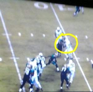 Once he advances through the hole due to his vision he notices the pancake block Monroe is putting on his defender.