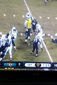 He then cuts behind Monroe which then allows him to gain an extra 3 yards.